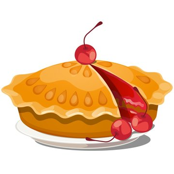 Fresh cherry pie on a plate isolated on white background. Vector cartoon close-up illustration.