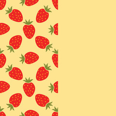 Card with cartoon red strawberry and empty space. Seamless border with strawberry on white background. Fruit background.