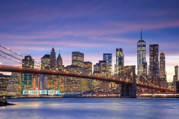 Usa, New York City, Brooklyn, Brooklyn Bridge and Manhattan Skyline