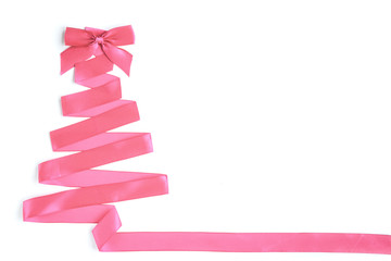 Christmas tree made from satin ribbon, isolated on white