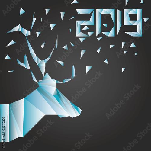 Cerf Low Poly Nouvel An Noël 2019 Fond Noir Stockfotos Und