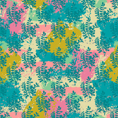 Colorful floral grunge seamless pattern with abstract hand drawn brush strokes and paint splashes, lines, branches. Messy infinity texture, modern grungy background. Vector illustration.