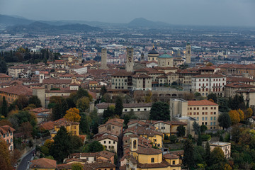 View of old town of Bergamo italy