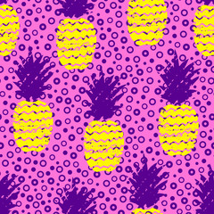 Colorful hand drawn grunge pineapple seamless pattern. Vector illustration.