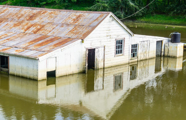 Flooded farm building