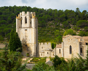 Historical view of Castle of Abbey Sainte-Marie d'Orbieu in Lagrasse