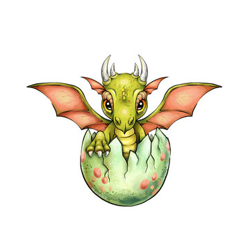 Cute little just newborn dragon in egg with two wings. Digital artwork.