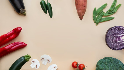 Healthy food background. Different vegetables. Copy space.