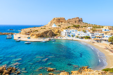Beautiful sea bay with in Finiki village on coast of Karpathos island, Greece Wall mural