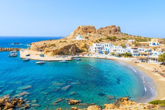 Beautiful sea bay with in Finiki village on coast of Karpathos island, Greece