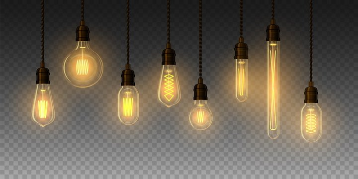 Set of realistic glowing lamp hanging on the wire. Incandescent lamp. Vector