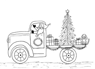 Hand drawn outline Santa Claus driving truck Christmas tree toys and dog