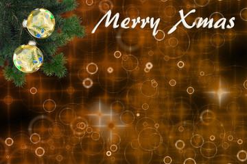 schöner Weihnachtshintergrund mit Tannenzweigen, Weihnachtskugeln und Text: Merry Xmas, mit Textfreiraum.