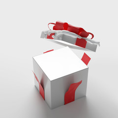 open christmas present with snow 3d-illustration