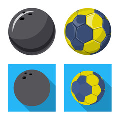 Isolated object of sport and ball sign. Set of sport and athletic stock symbol for web.