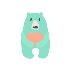 Cute bear with heart hand drawn vector illustration. Can be used for t-shirt print, kids wear fashion design, baby shower invitation card.