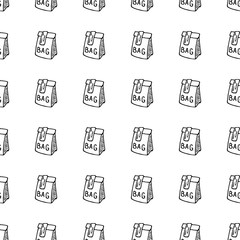 Seamless pattern hand drawn bag. Doodle black sketch. Sign symbol. Decoration element. Isolated on white background. Flat design. Vector illustration