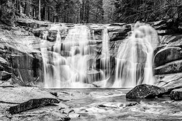 Mumlava waterfall in autumn, Harrachov, Giant Mountains, Krkonose National Park, Czech Republic....