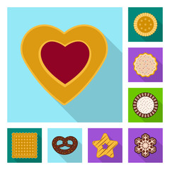 Isolated object of biscuit and bake sign. Collection of biscuit and chocolate stock vector illustration.