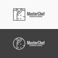 Chef uniform icon. Chefs jacket linear logo on black and white background