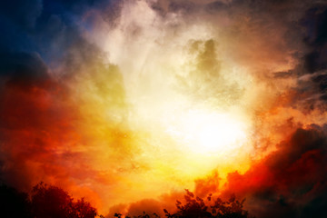 Light from sky . Religion background . Sunset . Sunlight pierces through the clouds . Background sky at sunset and dawn .  Flare