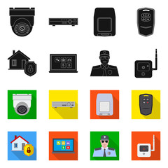 Vector design of office and house icon. Set of office and system vector icon for stock.