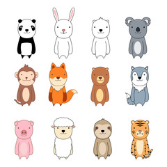 Cute animal cartoon character icon set, vector illustration