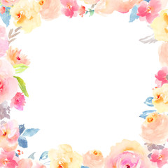 Watercolor Flower Frame Backgrounds. Floral Frame Borders
