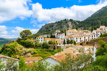 White village of Grazalema in green mountain landscape of Andalusia, Spain