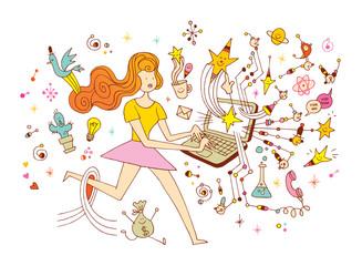 Girl programmer - startup creative business launch success laptop computer innovation freelance working concept cartoon illustration