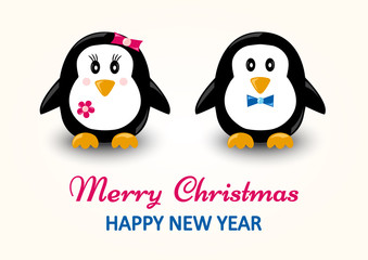 Christmas greeting card. Cartoon penguins, boy and girl. Vector illustration