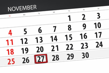 Calendar planner for the month, deadline day of the week 2018 november, 27, Tuesday