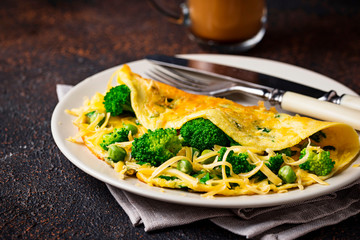 Omelette with green vegetable and cheese