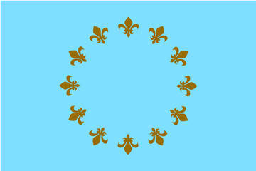 Fantasy square blue flag with 12 golden heraldic lions, royal, bourbon lily, a symbol of peace, unity and greatness