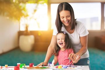 Happy family kid mom babysitter parent teacher drawing