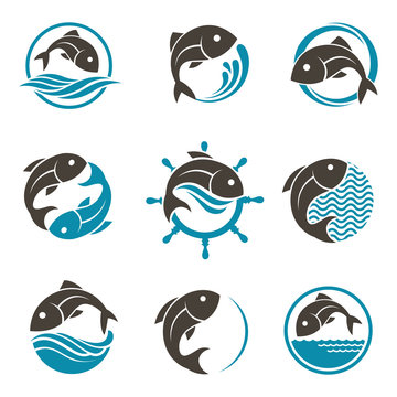 collection of abstract fish icon with waves