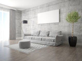 Mock up a spacious living room with a stylish modern sofa and fashionable hipster backdrop.