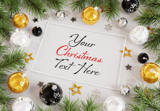 Christmas Card with Ornaments Mockup