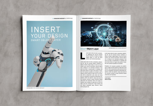 Open Magazine on Concrete Surface Mockup