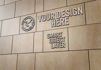 3D Sign on Wooden Wall Mockup