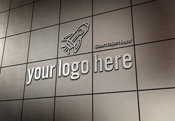 3D Sign on Metal Tiled Wall Mockup