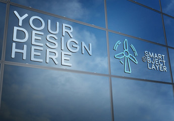 3D Sign on Building Window Mockup