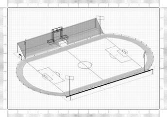 football stadium Architect Blueprint
