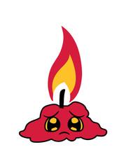 lustig traurig abgebrannt comic cartoon gesicht flamme feuer kerze wachs brennen dekorativ design clipart design geburtstag kuchen