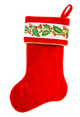 Christmas stocking Red sock gifts isolated white background