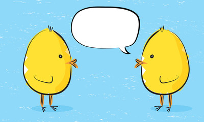 Yellow chick with an empty speech bubble with another chick