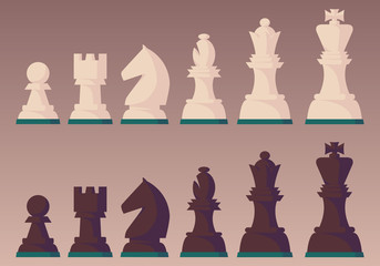 Chess pieces in flat vector style