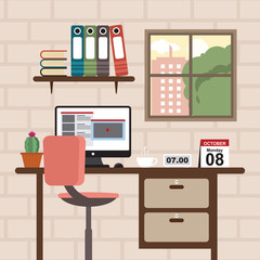 Office Workspace Workplace Table Computer Business Flat Design
