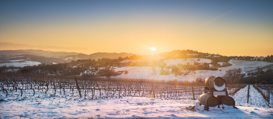 Zelfklevend Fotobehang Europese Plekken Vineyards rows covered by snow in winter at sunset. Chianti, Siena, Italy