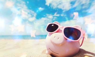 Piggy Bank Wearing Sunglasses Relaxing At The Beach